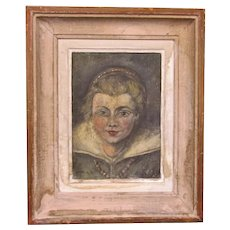 Small French Oil on Canvas Painting Antique c1900