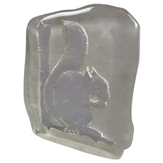 French Pressed Glass Squirrel Paper Weight Vintage c1980