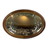 Oak Oval Frame Bevelled glass Mirror Antique Edwardian c1910