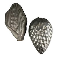 Pair Of Large Metal Corn And Grapes Tin Kitchen Moulds Vintage c1920