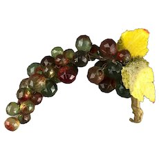 Cut Glass Bunch Of Grapes Red & Green Vintage Mid Century c1950