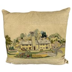 Large Linen Cushion With Needle Work At The Front Vintage c1970.