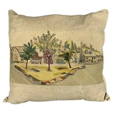 Large Linen Cushion With Needle Work At The Front By Nailsworth Tapestry Vintage c1970.