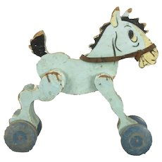 French Painted Wooden Toy Donkey Vintage c1930