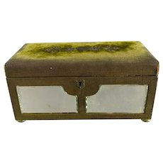 Green Velvet Cadbury Box With Pink Silk Inside And Mirror Outside Antique Victorian c1890