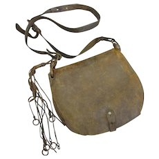 Small Leather Fishing Bag Antique c1900