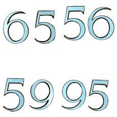 Pair of Pale Blue Enameled Numbers FIVE 5 and SIX 6 Metal Back Mid Century Vintage c1960