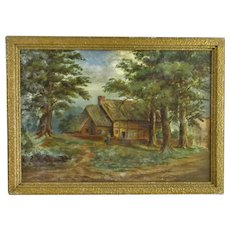 Smaller English Oil on Board Landscape Painting Antique c1900