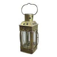 Little Brass Candle Lantern Antique Edwardian c1910
