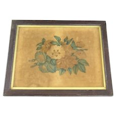 Aesthetic Period Floral Painting on Velvet Antique c1870