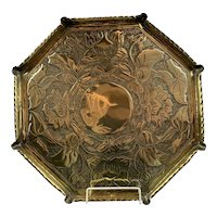 Octagonal Brass Charger or Tray Vintage Art Nouveau c1900
