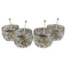 Sterling Silver Set of 4 Sea Salt Pot With Spoon Vintage Art Deco Birmingham 1909