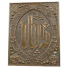 Copper And Brass Plaque Arts And Craft Antique c1880