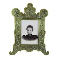 Larger Decorative Cast Brass Photograph Frame Antique c1890