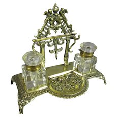 Cast Brass Ink Stand Antique Edwardian c1910