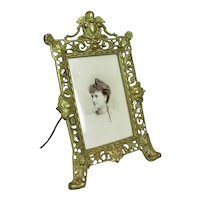 Pierced Brass Classical Photograph Frame Antique c1880