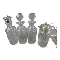 Cut Glass & Silver Plated 4 Piece Cruet Set Antique Edwardian c1910