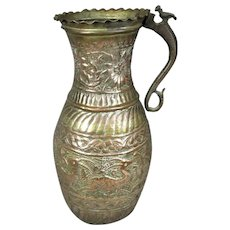 Larger Hand Made Islamic Chased Copper Jug Antique c1900