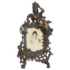 Ornate Copper Gilt Cast Iron Table Photograph Frame Antique c 1870