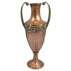 Large Arts & Crafts Copper & Brass Vase by Nestor Antique c1900