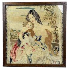 Berlin Wool Tapestry Framed Antique Victorian c1860