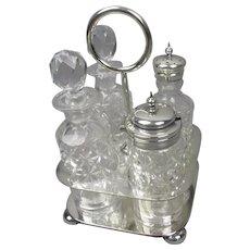 Cut Glass And Silver Plated Cruet Set Antique Edwardian c1910