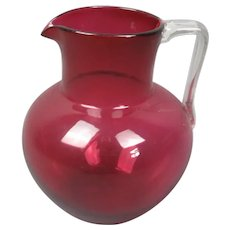 Cranberry Glass Jug Antique Victorian c1880
