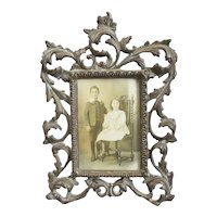 Rococo Style Patinated Brass Photo Frame Vintage