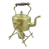 Brass Kettle on Stand Antique c1880