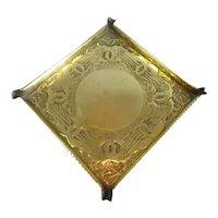 Hand Beaten Arts & Crafts Brass Tray Antique c1900