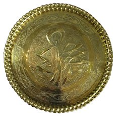 Large Hammered Brass Decorative Charger Antique c1900