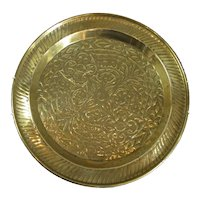 Larger Hand Hammered Brass Charger Antique c1900