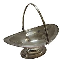 Silver Plate Fruit Bowl Dish with Handle Vintage Art Deco c1920