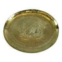 Large Oval Brass Charger Tray Arts & Crafts Antique c1900