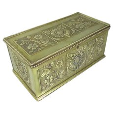 Aesthetic Movement Stamped Brass Trinket Box Antique c1880