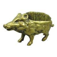 Brass Warthog Pen Wipe Antique Victorian c1890