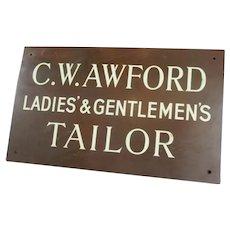 Copper C.w.awford Tailor Shop Sign Antique Edwardian c1910