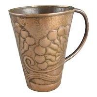Unusual Hand Beaten Arts & Crafts Copper Tankard Antique Victorian c1900