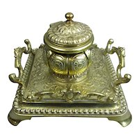 Ornate Brass Inkwell Antique Victorian c1890