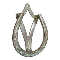 Solid Cast Brass Horse Shoe Door Knocker Antique Edwardian c1900