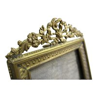 Small Decorative Crowned Brass Photo Frame Antique Victorian c1890
