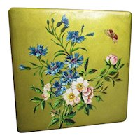 Lacquered Floral Decorative Papier Mache Keepsake Box Vintage Mid Century c1960