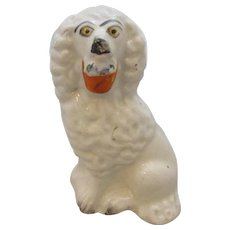 Ceramic Staffordshire Poodle With Basket Figurine Antique Victorian C1855