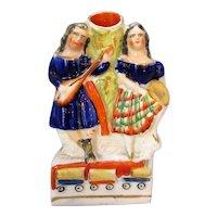 Antique Staffordshire Flatback Posy Vase Figures Victorian c.1845