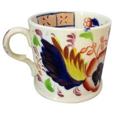 Antique 19th Century Gaudy Welsh Leaf Pattern Pottery Cup c.1835