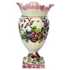 Antique English Pink Lustre & Painted Vase Urn 19th Century c.1835