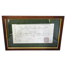 Framed Adams Small Arms Co Receipt Antique 1864.