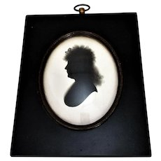 Framed Painted Silhouette on Plaster by Miers Antique c1800.