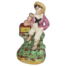 English porcelain Staffordshire Figure Of Boy & Monkey Antique c.1870.
