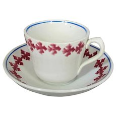 English Porcelain Spongeware Cup & Saucer Antique 19th Century.